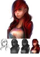 Study 04: Red Girl by teagirl-vn