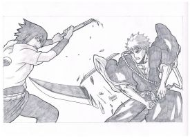 Ichigo vs Sasuke by stryfers