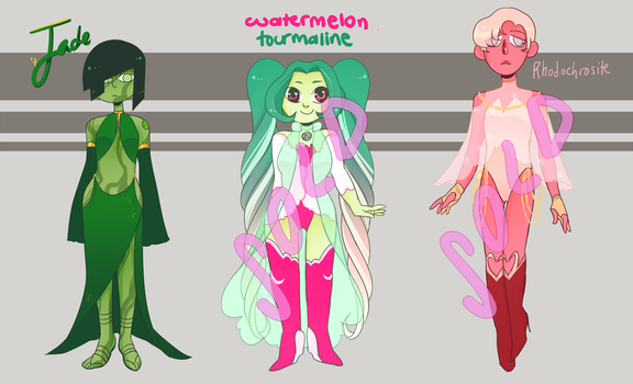 CLOSED pink to green gem adopts by noodlesqueen