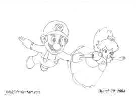 Mario and Peach flying by joiski