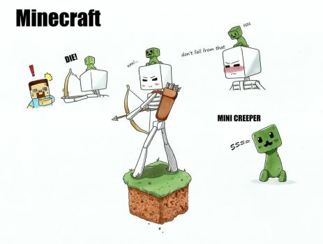 minecraft the Skeleton and Mini Creeper by gmil123