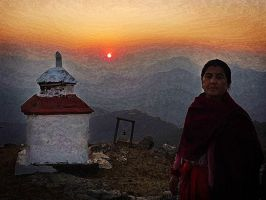 Old lady at sunset by Beros