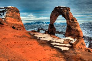 Delicate Arch Snow by mikewheels