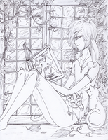 Mura, reading in the window by AskYourWishes