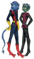 Nightcrawler and Beast Boy by fury-and-the-mouse