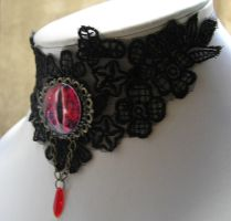 sauron goth victorian necklace - lord of the rings by kaitani81