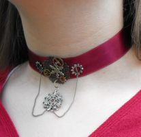 Snowflakes and Gears Choker by FireFiriel