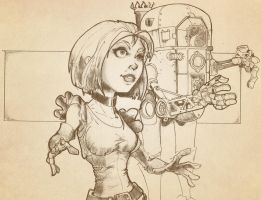 Steampunk Robot and Girl by Pencilbags