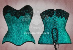 Green lace corset by Alice-Corsets