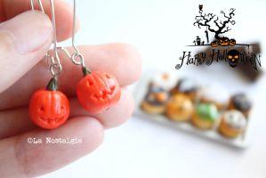 Happy Halloween Jewelry Pumpkin Earrings by LaNostalgie05