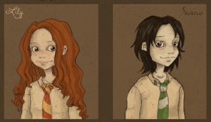 Young Lily and Severus by Sesy