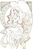 angel art-nouveau by cheriiboi