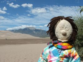 Plushie Felix at the Great Sand Dunes by hankinstein