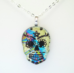 Rainbow Streaks Dichroic Fused Glass Sugar Skull by HoneyCatJewelry