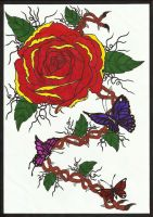 Rose with butterflies by Patres68