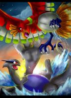 Pokemon: Lugia vs Ho-Oh by ItsOver9O00