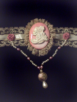 Skeleton Cameo Choker Pink 2 by MorganCrone