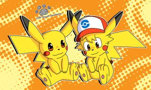 Old Drawing Ash And Pikachu Colored by Coshi-Dragonite