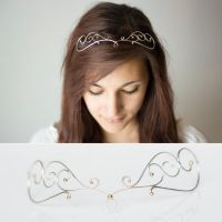 Handmade Silver Circlet Tiara with Gold Beads by MirielDesign