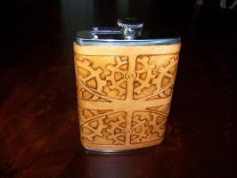 Leather Wrapped Hip Flask by SaratoninStudios