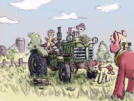 Cutie Mark Crusaders Tractor drivers! by Ulyanovetz
