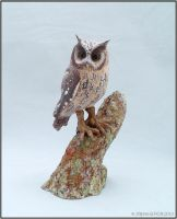 Horned Owl Ceramic Sculpture by StephaniePride