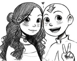 Katara and Aang by courtneygodbey