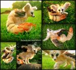 Flighted Fennec Fox - OOAKPosable Fantasy Creature by Heiditruth