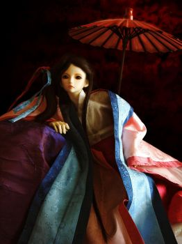 SD doll with a red umbrella by bluelizardwalking