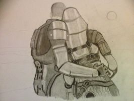 Tali and Shepard by lordmacnton