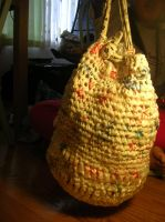 Plarn (Plastic Yarn) Drawstring bag by theultimatepjofan