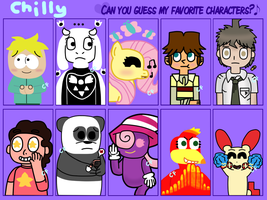 Can you guess my favorite characters? meme by ChillyFlutter