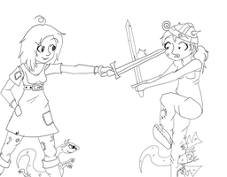 Sword fighting by singingaboutthesnow