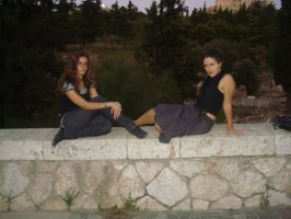 On a stone bench by Erevia