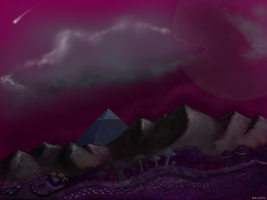 A pink planet with mushrooms and a pyramid by Killerratte