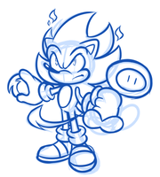 Sketch Comm - Fire Sonic by JamesmanTheRegenold