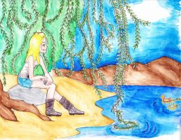The girl at the lake by MorganeXD