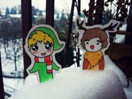 Niall and Harry in the snow by LouTomlinfiglio