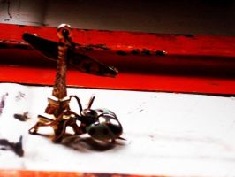 Paris is attacked by an insect. by beahufan