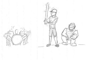 Drums and Baseball Sketch by queenelizathedog