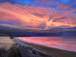 Eastern Sky at Sunset from the Strand Field Cliff by eastcorkpainter