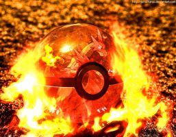 Volcarizard in a Pokeball by Jonathanjo