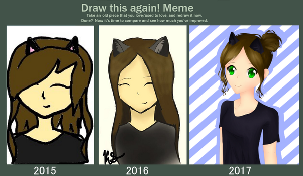 Draw This Again Meme: Cat Girl by LazyRainbowUni