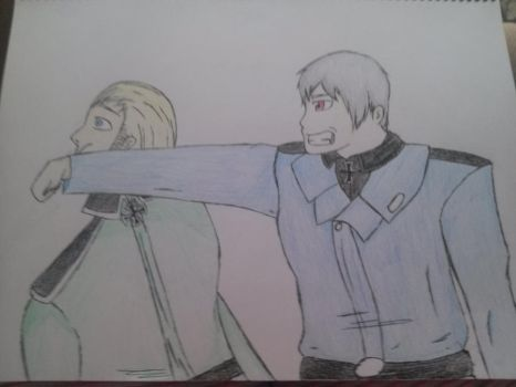 Prussia punching Germany by animer334