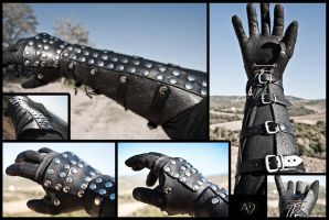 Black Rawhide Gauntlets by Adhras