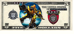 NEST MONEY five dollar bill by Baconette
