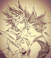 Atem and Yugi by ivegotajarofdiirt
