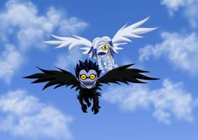 Ryuk and Rem Flying Around by shadesoflove