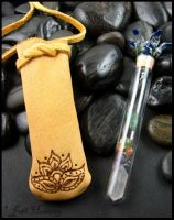 Leather Medicine Pouch - Rising Lotus by andromeda