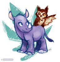 Young Rhino and Owl by gabapple